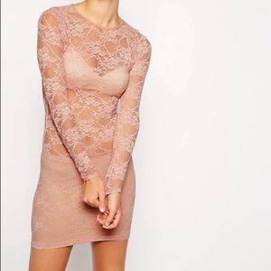 Pastel Pink Nude Floral Lace Bodycon Dress